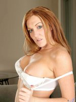 Fiery red headed cougar stuffs her pussy with her panties and then tastes them afterwards - Big Boobs, Shaved Pussy, Redhead, Long hair, Bras, Panties, Lingerie, Masturbation, Fair Skin, Sheer, Enhanced, Milf