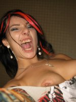 Big boobed ex girlfriend Dizzy gets naked and ends up stroking her cooter and makes it wet