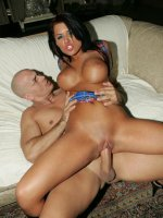 Eva Angelina fondles her big boobs while gets her her ass toyed and her pussy plugged with cock