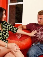Nella Jay fucks her bestfriends brother Bill Bailey,  so that he could take her out on the town. - Nella Jay, My Sister's Hot Friend, Bill Bailey,  Nella Jay,  Friend,  Sister's Friend,  Couch,  Living room,  Ass licking,  Ass smacking,  Big Dick,  Big Tits,  Blow Job