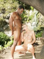 Huge breasted blondie Nicki Hunter and her black lover engage in shameless outdoor fucking live