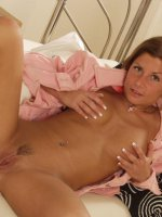 Blonde in pink coat flaunting huge humps and wet pussy