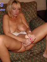 Horny blonde all alone with some giant dildos - Naughty Alysha,  MILF,  Big Tits