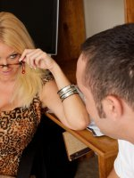 Horny blond teaches her student a thing or two with a hot blow job and a hard fuck. - Charlee Chase, My First Sex Teacher, Charlee Chase,  Daniel Hunter,  Teacher,  Chair,  Office,  Big Tits,  Blonde,  Blow Job,  Cum on Tits,  Deepthroating,  Facial,  Fake Tits,  Glass