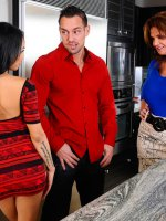 It's our 6000th scene here at Naughty America and to celebrate we bring you Deauxma making 6000 cupcakes. Her cupcake making is interrupted though when her son's friend's,  Johnny and Gulliana,  stop by to visit on their break from college. Deauxma wants to