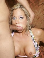 Huge boobed blondie Sophia Gently gives her man a memorable blowjob and later rides a cock live