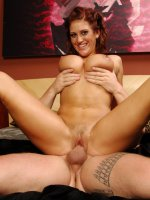 Redhead with hot big tits Eve Laurence bounces on a raging dick and gets facialized