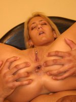 Big boobed blonde Trina Michaels bounces her round racks in bed while taking our cock