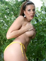 Brunette Anilos Victoria loves to expose her experienced shaved pussy while she hangs out in her garden - Big Boobs, Big Nipples, Shaved Pussy, Brunette, Long hair, Bikini, Outdoors, Fair Skin, High Heels, Enhanced, Milf