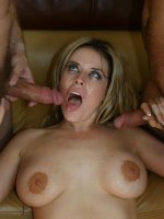 Watch as busty Daphne Rosen entice two handsome guys then fucking them both at the same time