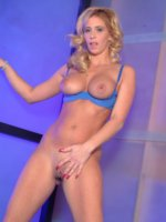 Curly huge boobed blonde in blue lingerie dildo fucking on the floor
