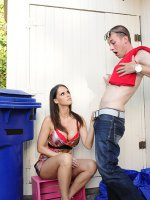 Jennifer Dark is a gorgeous MILF who helps her son's friend out and then sucks his cock and rides it until they both orgasm. - Jennifer Dark, My Friend's Hot Mom, Jennifer Dark,  Jessy Jones ,  Friend's Mom,  Couch,  Floor,  Living room,  Outdoors,  Athletic Body,