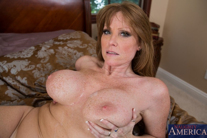 Mature busty cum on tits think