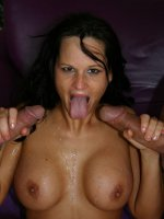 Horny pornstar Kami totally naked and working two dicks before she gets DP cock dipping